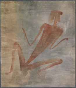 Felsbild aus Simbabwe. Große, rote sitzende Gestalt. (© Frobenius-Institut)